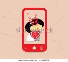 valentines day sweet love couple with hearts in phone