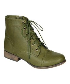 Love this Military Green Georgia Ankle Boot by Breckelle's on #zulily! #zulilyfinds