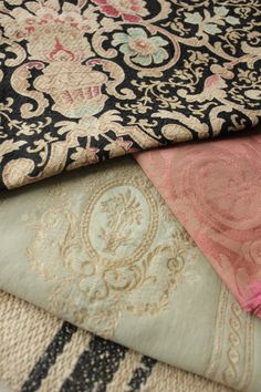 Antique Vintage French nice color combination right here has a little black the neutral and a pink