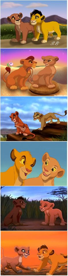 from cub with love  1.Ahadi and Uru, 2.Mufasa and Sarabi, 3.Scar and Zira, 4.Simba and Nala, 5.Kovu and Kiara, 6.Kopa and Vitani
