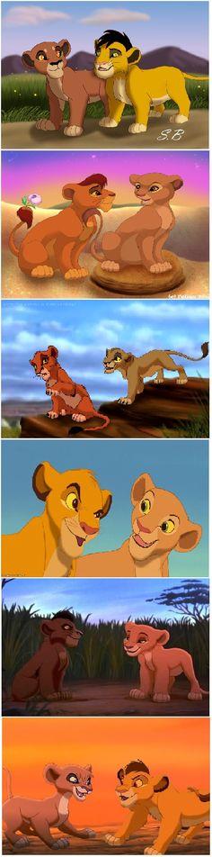 from cub with love 1.Ahadi and Uru, 2.Mufasa and Sarabi, 3.Scar and Zira, 4.Simba and Nala, 5.Kovu and Kiara, 6.Kopa and Vitani