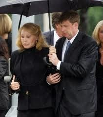 Joan Kennedy, with son Patrick, arrive for the Roman Catholic Funeral Mass for Sen. Edward Kennedy at Our Lady of Perpetual Hope Basilica in Boston, Saturday, Aug., 29, 2009.