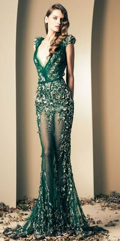 Glamorous green look from Ziad Nakad