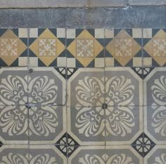 Palette old tiles: pale yellow, slate blue, grey, white