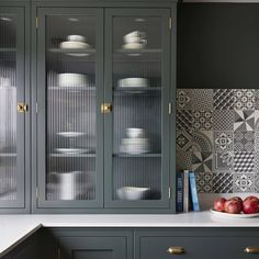 Fluted glass cupboards are a great place to store crockery and glassware. The texture on the glass disguises the cupboards' contents enough… Glass Kitchen Cabinets, Glass Wardrobe, Kitchen Cupboards, Home Decor, Cupboard, Glass Kitchen Cabinet Doors, Glass Cabinet Doors, Cupboard Design, Glass Barn Doors