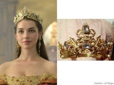 "In the episode 2x03 (""The Coronation"") Queen Mary wears this Custom Made Renaissance Crown ($198) from Courtly Charm on Etsy."