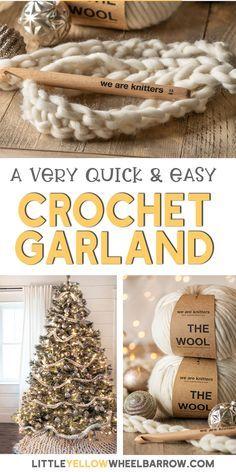 Crochet Christmas Garland, Crochet Garland, Christmas Crochet Patterns, Diy Garland, Christmas Knitting, Crochet Tree, Crochet Ornaments, Garlands, Easy Crochet