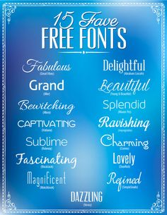 15 favorite free fonts to download (for personal use). Great for design, invitations, posters, cards, scrap-booking, etc. All 15 fonts have easy links in post.