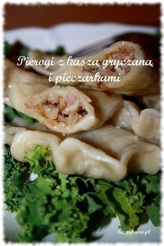 pierogi z kaszą gryczaną Bread Dumplings, Polish Recipes, Dim Sum, Tortellini, Ravioli, Going Vegan, Good Food, Food And Drink, Cooking Recipes