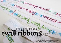 Personalized printed ribbon on twill fabric - very cute