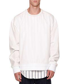JUUN.J DOUBLE-LAYER SWEATSHIRT & SHIRT COMBO, WHITE. #juun.j #cloth #