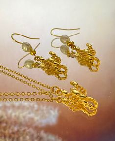 Gold plated Earrings and Necklace, Scorpions Earrings with white Pearls, Scorpions Necklace Gold Plated Earrings, Gold Earrings, Perfect Gift For Her, Gifts For Her, Real Pearls, Minimalist Necklace, Bird Design, Crystal Pendant, Pearl White