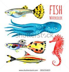 Fish. Wildlife. Sea animals. Vector illustration. Watercolor background. Tropical fish. - stock vector