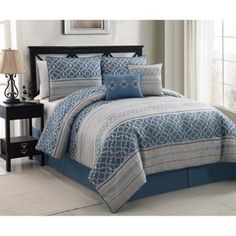 This lavish comforter set comes with everything you need to do a complete makeover for your master or guest suite and comes in sizes king and queen. The stunning jaquard design of this comforter set will give your bedroom a contemporary yet simple look. Furniture, Comforter Sets, Comforters, Home Decor, King Comforter Sets, Bed, Blue Bedroom, Bedding Stores, Bedding Sets