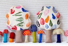 Ukkonooa fabric trees printed with seasonal shapes