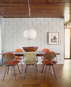 Florida, United States, Andrew Century Design, Dining table with Eames wire chairs Decor, House, Dining, Dining Room Design, Cinder Block Walls, Modern Style Furniture, Eames Wire Chairs, House Interior, Eames House