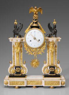 Louis XVI Marble, Bronze Doré Clock