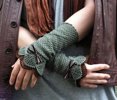 Lace Hunting  - crocheted open work lacy romantic wrist warmers cuffs gift summer autumn fashion in olive and dark brown