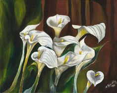 Still Life, Green and white Painting, floral, Calla Lillies, Title: Callas III.  I love this still life of Calla Lillies!