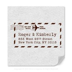 Custom Return Address Rubber Stamp With International Air Mail Graphic Bordered Inspired Design. $19.95, via Etsy.