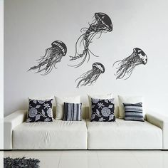 Wall Decal Vinyl Sticker Decals Art Decor Design Jellyfish Sea Ocean Deep Water Fish Scuba Bedroom Living Room Bathroom from CreativeWallDecals on Etsy. Contemporary Wall Stickers, Modern Wall Decals, Wall Stickers Murals, Vinyl Wall Decals, Wall Murals, Wall Art, Bathroom Decals, Water Walls, Art Mural