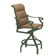 "Tropitone Montreux II Sling Swivel 30"" Bar Stool Frame Finish: Woodland, Seat Color: Sparkling Water"