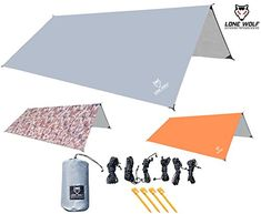 LONE WOLF 10.5' x 10.5' Lightweight Hammock Rain Fly Tent Tarp Water Proof Camping Shelter RIPSTOP Material UV Protection Sand Resistant Beach Blanket Essential Survival Gear (Gray). For product & price info go to:  https://all4hiking.com/products/lone-wolf-10-5-x-10-5-lightweight-hammock-rain-fly-tent-tarp-water-proof-camping-shelter-ripstop-material-uv-protection-sand-resistant-beach-blanket-essential-survival-gear-gray/