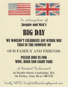 rehearsal dinner invitation, would be cool with both our flags :)