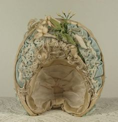 Wonderful Antique French Silk Satin Wire Bonnet for JUMEAU, BRU, from mybebes on Ruby Lane