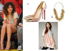 Rihanna spotted at a Basketball game in L.A. Kinda funny how shes wearing an American flag tshirt like she did early last year also at a basketball game, same texture and all. In order she is wearing 1. Christian Louboutin Duvette Pumps 2. Martin  Ricci gold plated bliss necklace available at MaxChloe - $105.00 3. Torn American flag tee available from neimanmarcus - on sale for $40.00