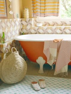 Paint the tub.   27 Clever And Unconventional Bathroom DecoratingIdeas