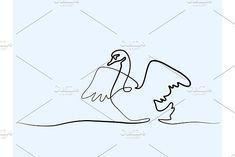 Swan logo one line drawing