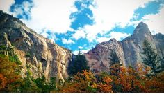 Stamp #548 - California: Fall  My spontaneous travels led me on a hike in Yosemite Valley with my nursing friends. I looked up to see these beautiful Cathedral Rocks with fall colors against the backdrop of a crisp blue sky. Enjoy the company of the people around you. Take pictures to remember your experiences. Don't let the pictures be the center of your experience. And look up or you'll miss something great. Thanks @ for sharing your #stamp! For more adventures and travel tips download the…