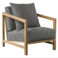 The Tamarama Armchair: Contemporary Wooden and Timber with Ash Grey Linen Cushions | Urban Couture - Designer Homewares & Furniture Online
