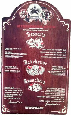 Old Spur menu