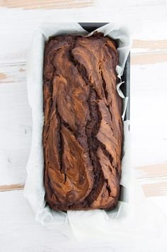 Vegan Chocolate Peanut Butter Banana Bread from top