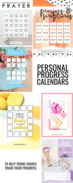 Personal Progress Value Experiences Calendars For Young Women