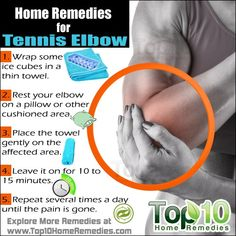 Top 10 Effective Home Remedies for Tennis Elbow 1 Wrap some ice cubes in a thin towel 2 Rest your elbow on a pillow or other cushioned area 3 Place the towel gently on th. Top 10 Home Remedies, Home Health Remedies, Natural Headache Remedies, Natural Pain Relief, Herbal Remedies, Tennis Elbow Relief, What Causes Tennis Elbow, Tennis Elbow Exercises, Tendinitis Elbow
