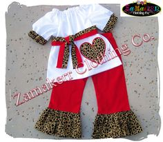 Girls Heart Valentines Day Leopard Red by ZamakerrClothingCo