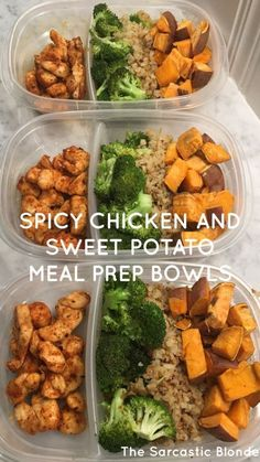 Healthy Dinner Recipes Discover :: Spicy Chicken Sweet Potato Bowls :: - The Sarcastic Blonde Spicy Chicken and Sweet Potato Bowls - Can use any Veggies you like for an easy Sheet Pan Dinner and perfect for Quick Meal Prep Healthy Snacks, Healthy Eating, Easy Healthy Meal Prep, Healthy Meals For Dinner, Easy Meal Prep Lunches, Eating Clean, Healthy Drinks, Simple Meal Prep, Healthy Meal Planning