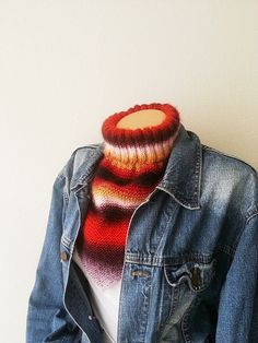 LUX SCARF  Red and colorful neck warmers with by NesrinArt on Etsy