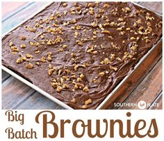 Big Batch Brownies ~*NEW* Big Batch Brownies - Fudgey and deeply chocolate, these brownies pay homemage to cafeteria ladies in days of old and make plenty to share! http://www.southernplate.com