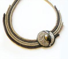 Cleopatra Crochet Necklace Antique Style Beige...