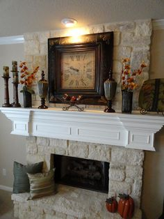 Love mantles that have just the right amount of decor. Simple and beautiful! Less is always more!