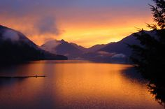 Lake Crescent sunrise - Olympic NP over scrotum hill Best Vacation Destinations, Best Vacations, Vacation Trips, Vacation Places, Ranger, Most Visited National Parks, Olympics, Adventure, Camping Gear