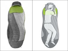 Wide in the elbows, the Nemo Nocturne Sleeping Bag tapers down then gently flares back out to allow room for your knees to naturally bend and shift. GetdatGadget.com/nemo-nocturne-sleeping-bag-matches-way-sleep/