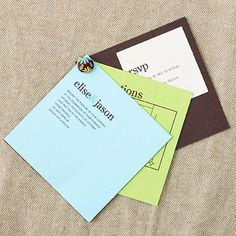 Three-Tier Invite  Clasp together a multilayer invitation with an adorable fabric brad. Simply print your text directly onto the invitation then use a 1/8-inch hole punch to make a spot for the brad.  Tip: Choose a brad with a simple pattern to add a dash of color to the invitation.