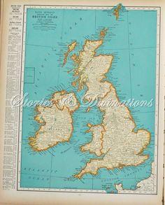Vintage Map of the British Isles - England, Ireland, Wales, United Kingdom, London. $21.50, via Etsy.
