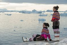 Greenlandic national costume at Ilulissat icefjord