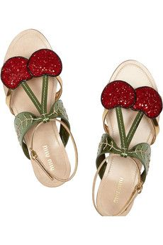Miu Miu - Metallic leather and glitter cherry sandals